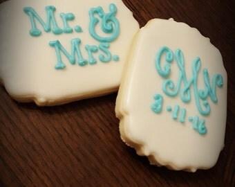 Personalized Monogram Sugar Cookies, Decorated Sugar Cookies, Wedding Favors, Monogram Cookies, Wedding Cookies