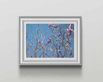 Purple Magnolia Art Print magnolia tree blossom and branches with a blue sky wall art - flower poster print
