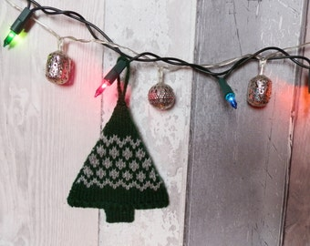 Knitted Christmas Tree Decoration, Green and Grey Zig Zag Design