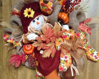 Fall wreath, Autumn wreath, scarecrow wreath