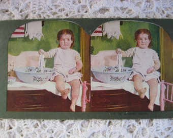 Ingersoll Stereoscope, Stereoview Card, Antique Paper,No. 1 , In Mischief Again, Child Playing ,Circa 1890s,Story Card