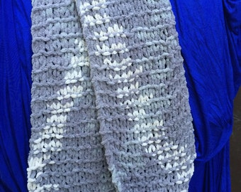 """Handmade Gray/White Chenille Scarf 69"""". Great Gift! Made with LOVE!!"""