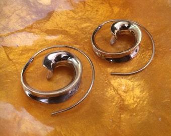 Brass spiral chunky earrings