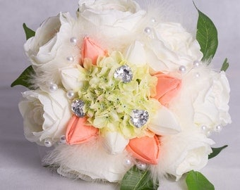 Tea Rose, Tulip and Hydrangea Hand-Tied Wedding Bouquet