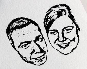Personalized Couple Portrait Stamp, Couple Portrait Stamp, Custom Face Stamp, Stamp for Couples, Christmas Portrait Stamp Z27