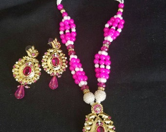 Hot pink necklace and earring set
