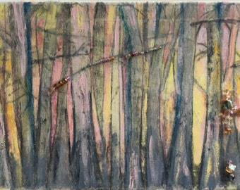 Winter Forest-Mixed media on canvas painting