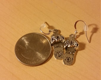 Silver flower flip flop earrings