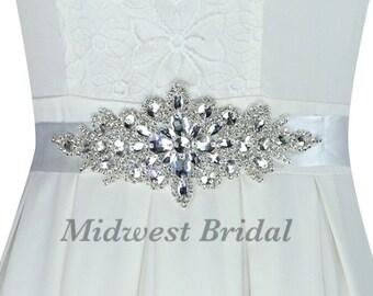 Custom Satin Crystal Rhinestone Bridal Sash Belt Wedding  White Ivory Navy Red