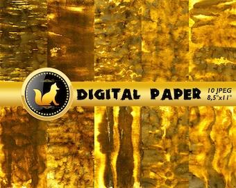Gold Splash Scrapbook Paper,Gold Watercolor Background, Gold Watercolor paper,Watercolor Background,digital paper,Watercolor paper,scrapbook