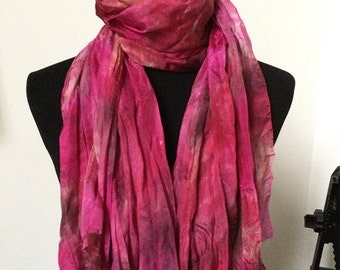 "Prophetic - Silk Scarf - Gifts for Women - Dyed Silk - Christian Gifts - Crinkle Silk 35x72"" called Embraced in His Love"