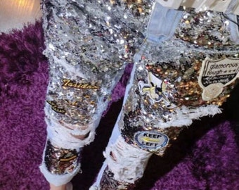 Womens Handmade Sequin Glitter Goddess Artistic Jeans