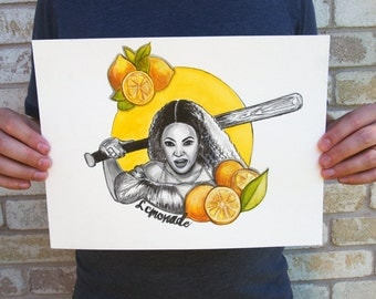 Lemonade Beyonce Watercolor Painting Musician Lemons Yellow Graphic Art
