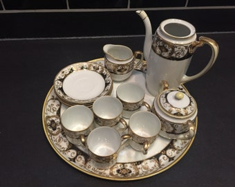 Hand Painted 14 Piece Noritake Chocolate Set, 1921-1940