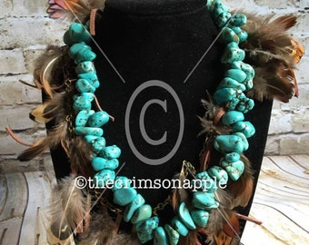 Brass, Turquoise, Feather, Leather tassel Boho Necklace
