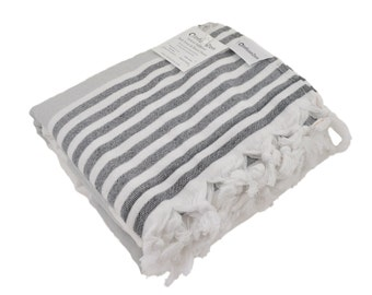 Turkish Bath Towel with Soft Terry Cloth Backing in Grey and Black Stripes, Large Peshtemal Towel for the Beach or Pool, Oversized Fouta