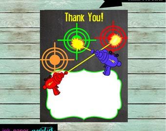 Laser Tag Birthday Thank You Note Cards - DIY - Digital File - Instant Download