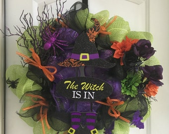 The Witch is In - Halloween wreath