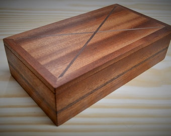 Handmade wooden box with hidden compartment for jewellery, gift, hidden and secret things