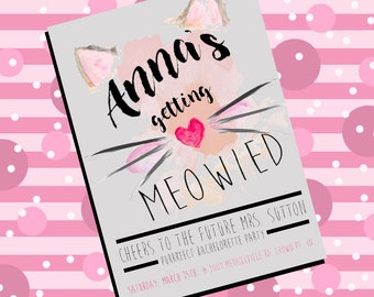 "Bachelorette Party invitation - ""Getting Meowied"""