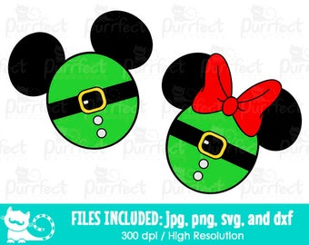 Mickey and Minnie Christmas Santa Elf Head SVG, Disney Santa Elf SVG, Disney Digital Cut Files in svg, dxf, png and jpg, Printable Clipart