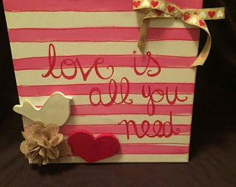 Love canvas,love is all you need, wall art, home decor, stripes, valentine, love, love bird