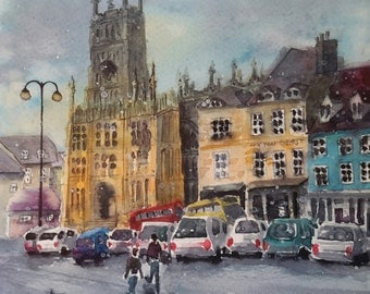 "SALE.Original watercolour cityscape  English cotswolds ""Freezing day at Cirencester"""