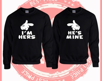 ON SALE TODAY  I'm hers he's mine sweatshirts -Mr and Mrs -King and Queen,mr and mrs- couples shirts,weddings gifts-couples costume