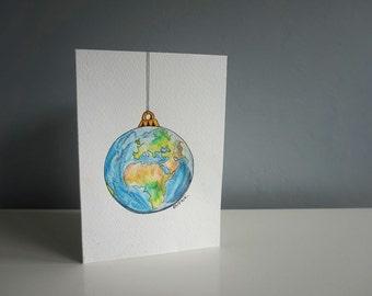 Christmas card - world bauble (original drawing!)
