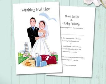Funny Wedding Invitations, Caricatures, Printable, Digital, Watercolor Illustration, Portrait Invitations, Humorous Cards