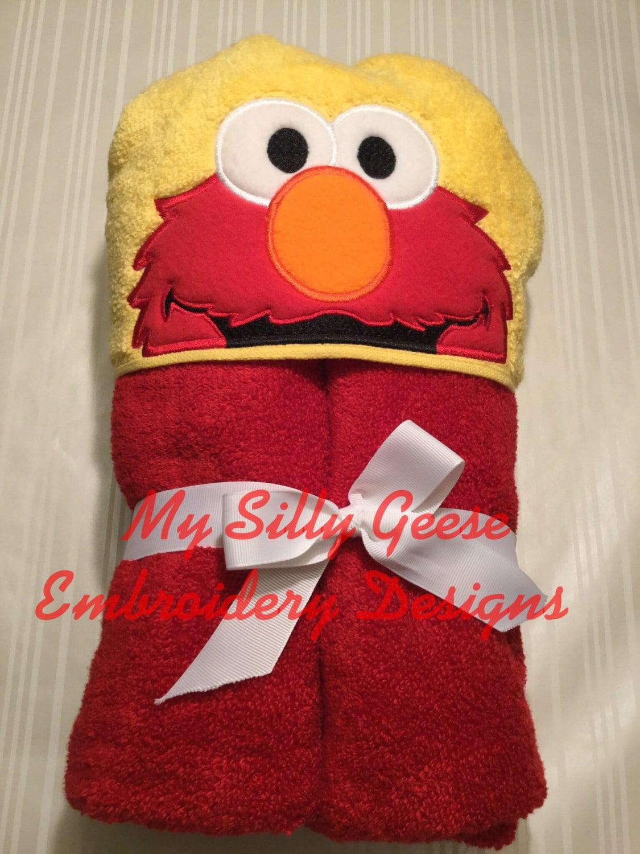 digital file 4x4 5x7 elmo sesame street inspired peeker hooded towel embroidery design hoodie