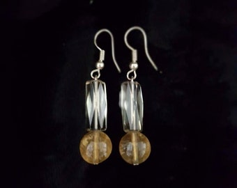 Beatifully delicate Vintage Crystal and Citrine earrings