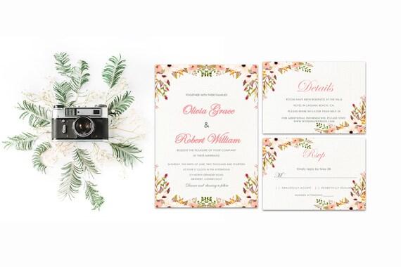 Floral wedding invite word_51,INSTANT DOWNLOAD, Editable Wedding template invitation. Microsoft Word template.Wedding Printable