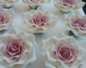 """Large 3 1/3"""" Wired Sugar Roses Ivory With Dusky Pink Wedding-Anniversary-Birthday Cake Topper Decorations"""