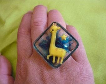 """""""Miss Giraffe"""" square resin ring"""