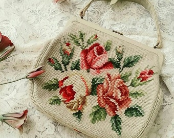 vintage floral needlepoint purse