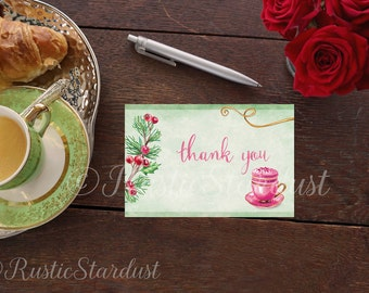 Christmas Thank you card Paris themed Watercolor Holly Illustration Thank you card Hostess Gift for Her Gourmet Thank you note Macaron