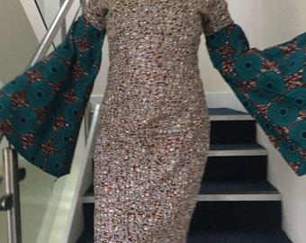 Ankara embellished Dress with batwing