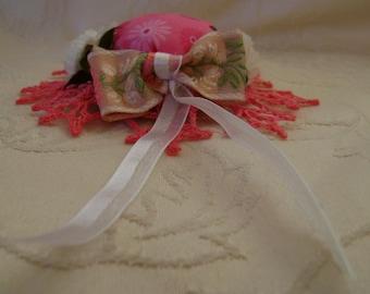 Pink garden Hat Barrette Crocheted Brim