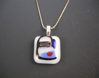 "Fused Glass Face Pendant with 18"" Sterling Chain KHN1505"
