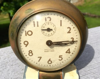 Wind up Baby Ben Alarm Clock Ivory and Copper Color and Off White Face by Westclox 1950-60's