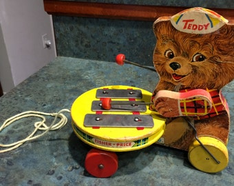 1964 Fisher Price Teddy Zilo Pull Toy
