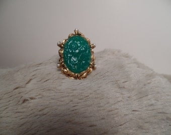 Wonderful Large Ring with Faux pearls and Molded Jade Green Glass Stone-Uncas