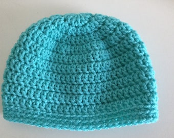 Blue Crochet  baby hat, Beanie, Boy or Girl Cap, 0 to 12 months,  Aqua or Turquoise baby hat ,   infant hat, select a size