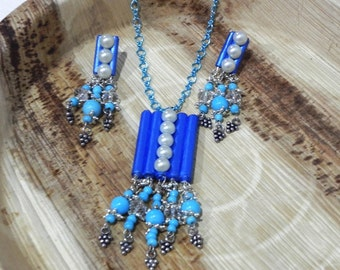 vintage style Paper jewelry set royal blue handmade /1st anniversary gift with love/gift/freeship