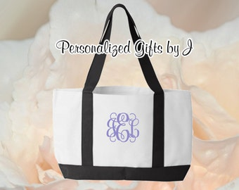 7 Personalized Tote, Monogrammed Bag, Bridesmaids Tote Bags 2 tone, Wedding Party Gift, Bridal Party Gift, Initial Tote