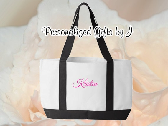 5 Personalised Bridesmaids Gifts, Personalized, Bridesmaid Gift, Tote Bag, 2 Color, Set of 5, Monogrammed Tote, Bridesmaids Tote, Wedding