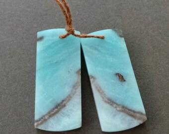 Polished Blue Amazonite Focal Pendant Satin Finish Book Matched