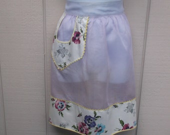 Vintage 50s SHEER Lavender Organza with floral cotton Hostess Apron / rockabilly swing 1940s to 1950s era