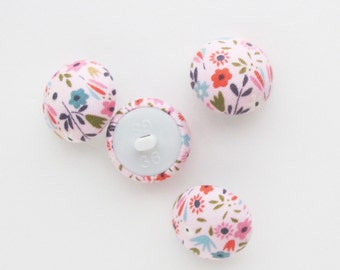 22mm Pink Buttons | Four 7/8 inch half round shank back buttons to use for clothing, embellishments, hair ties, or packaging.